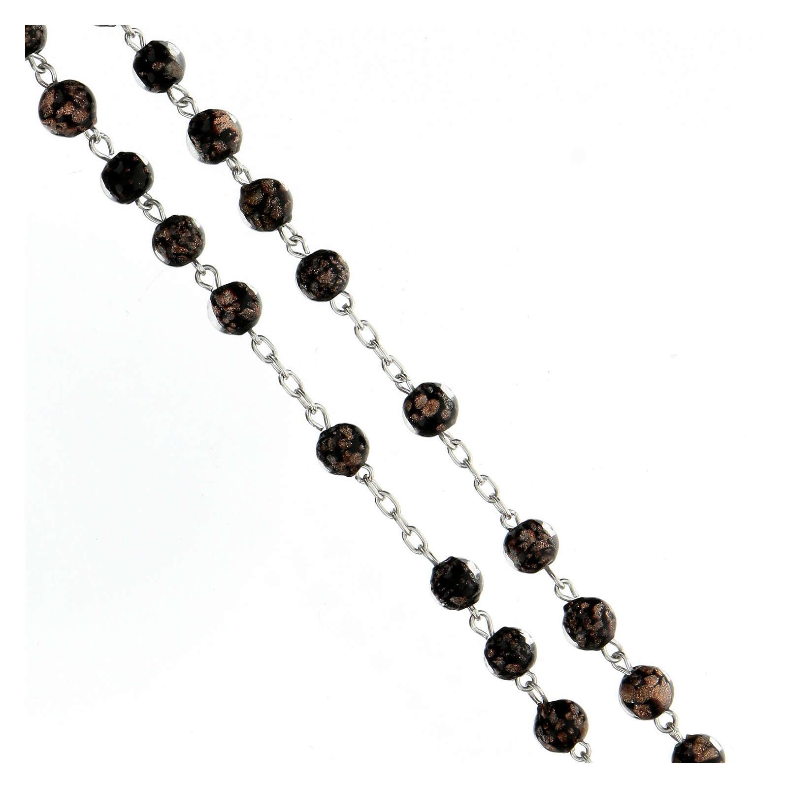 Rosario perlas vidrio negro oro 6 mm cruz plata 925 4