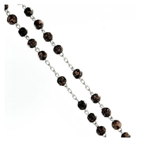 Rosario perlas vidrio negro oro 6 mm cruz plata 925 3