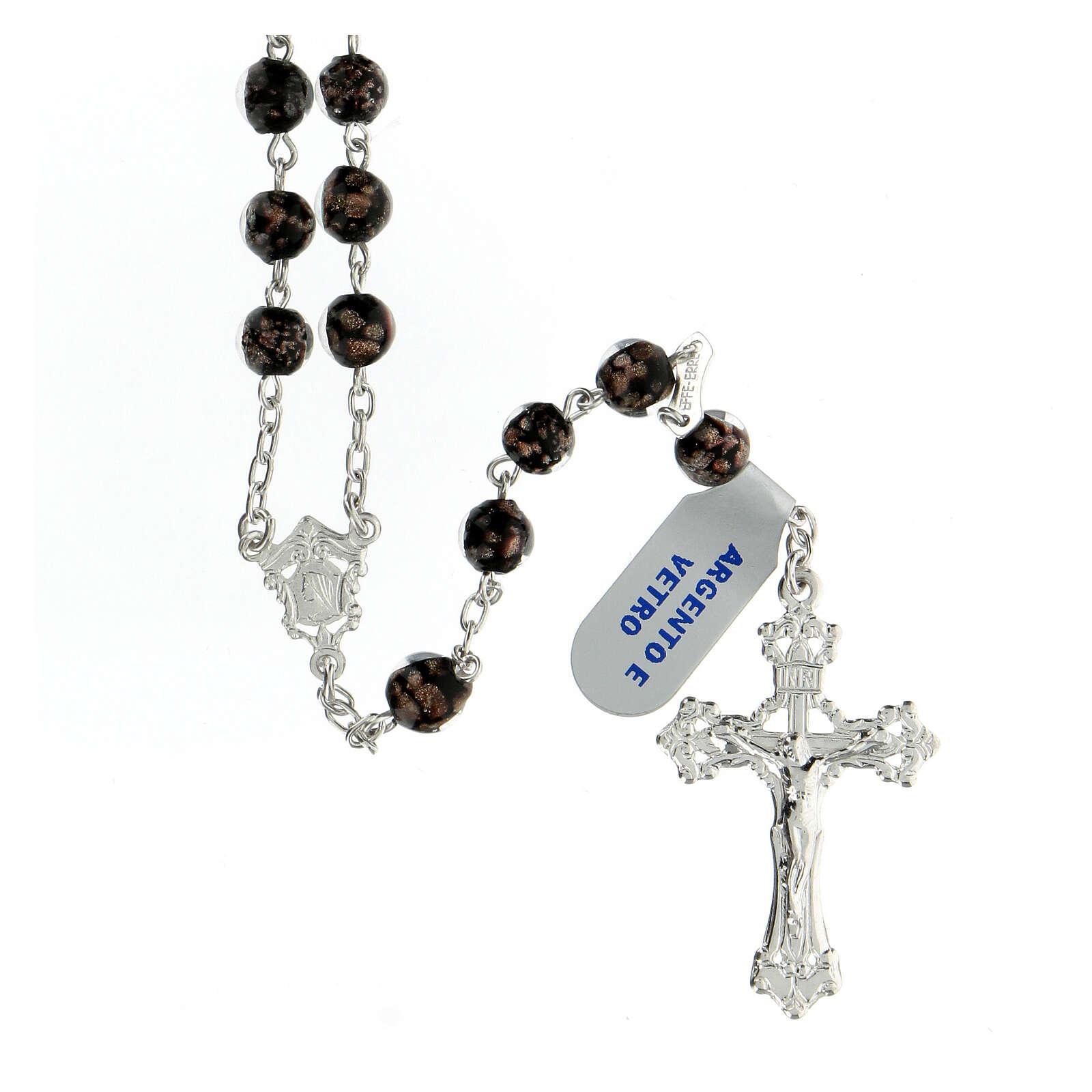 Chapelet perles verre noir or 6 mm croix argent 925 4