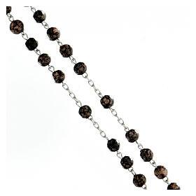 Chapelet perles verre noir or 6 mm croix argent 925 s3