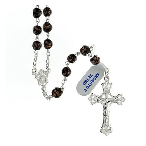 Chapelet perles verre noir or 6 mm croix argent 925 1