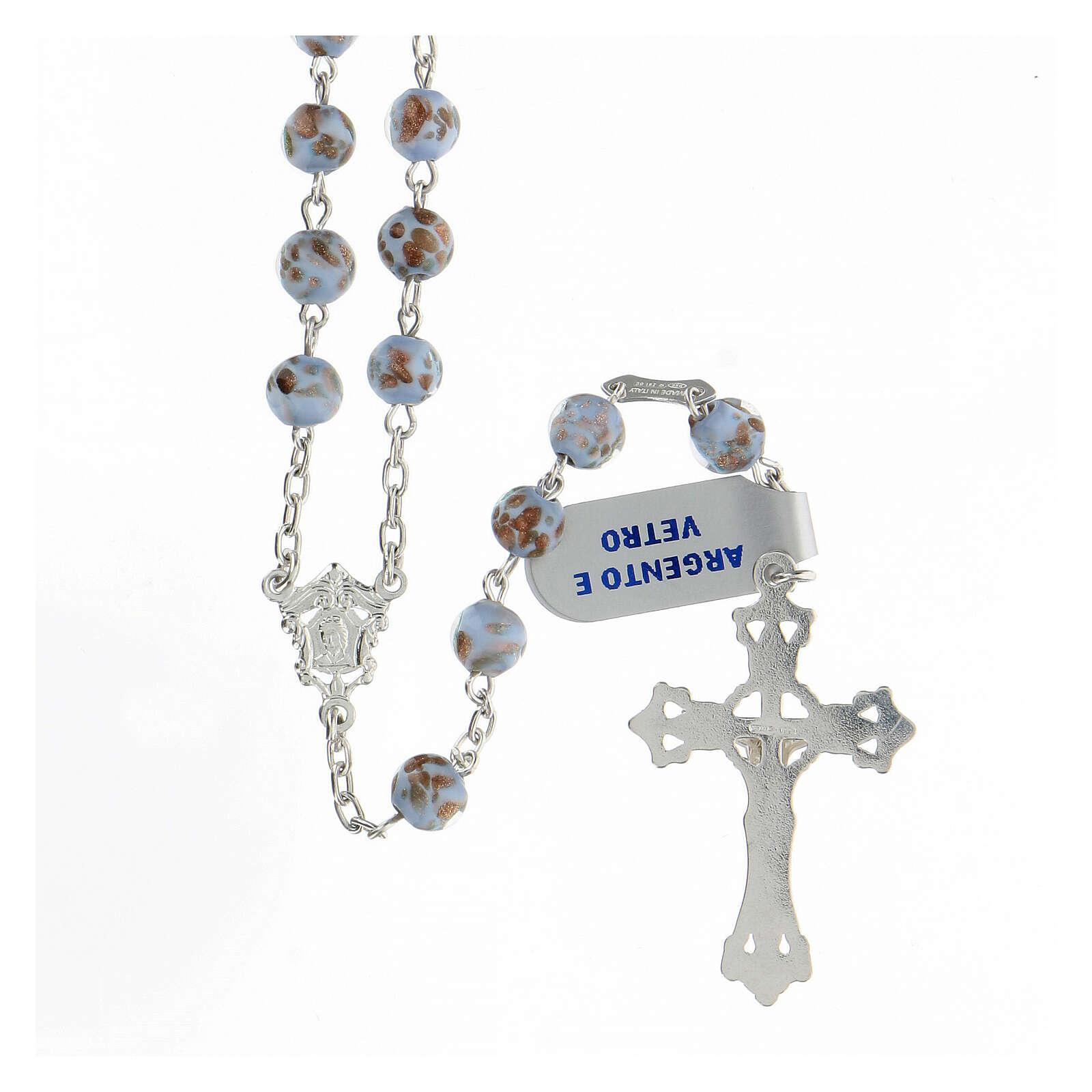 Rosario granos celestes oro vidrio cruce rostro María plata 925 4