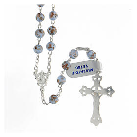 Rosario granos celestes oro vidrio cruce rostro María plata 925 s2