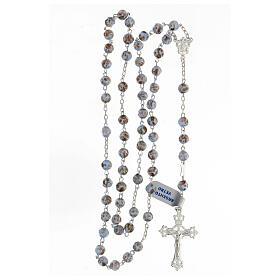 Rosario granos celestes oro vidrio cruce rostro María plata 925 s4