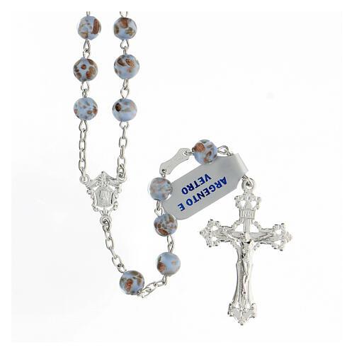 Rosario granos celestes oro vidrio cruce rostro María plata 925 1