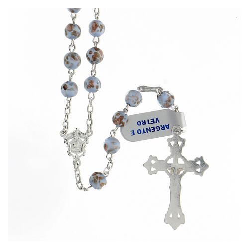 Rosario granos celestes oro vidrio cruce rostro María plata 925 2