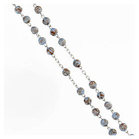 Chapelet grains bleu clair or verre médaille visage Marie argent 925 s3