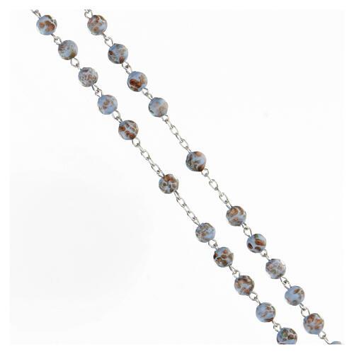 Chapelet grains bleu clair or verre médaille visage Marie argent 925 3
