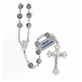 Rosario grani celeste oro vetro crociera volto Maria argento 925 s1
