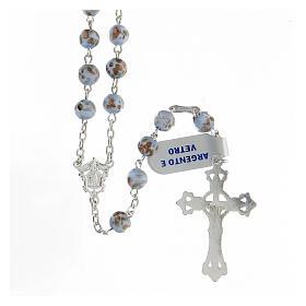 Rosario grani celeste oro vetro crociera volto Maria argento 925 s2