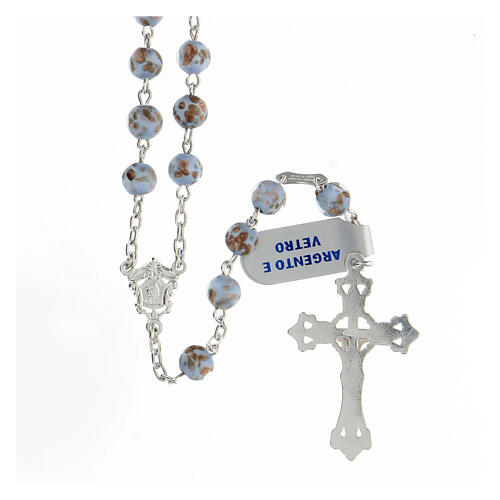 Rosario grani celeste oro vetro crociera volto Maria argento 925 2