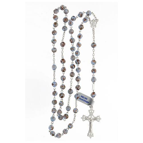 Rosario grani celeste oro vetro crociera volto Maria argento 925 4
