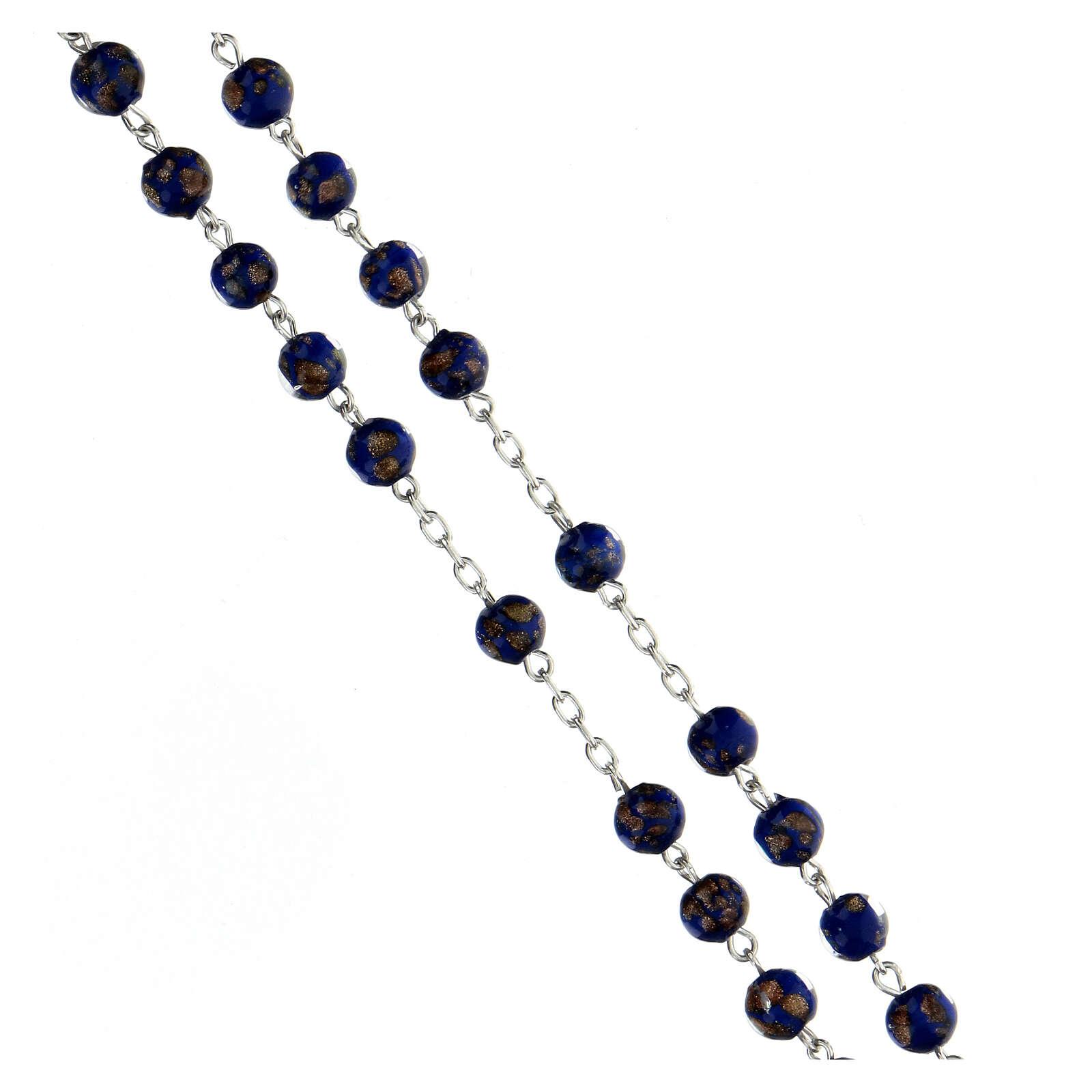 Chapelet argent 925 grains 6 mm verre bleu or 4