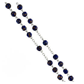 Chapelet argent 925 grains 6 mm verre bleu or s3