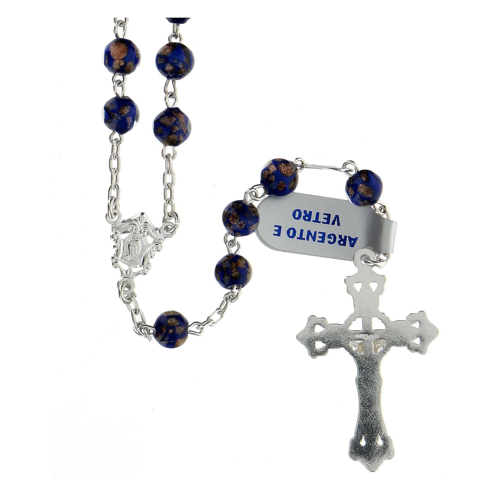 Terço prata 925 contas de vidro 6 mm azul e ouro com crucifixo trilobado 4