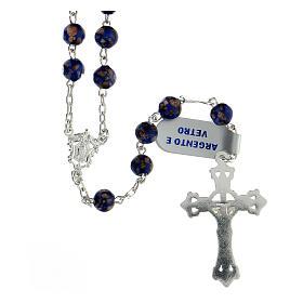 Terço prata 925 contas de vidro 6 mm azul e ouro com crucifixo trilobado s2