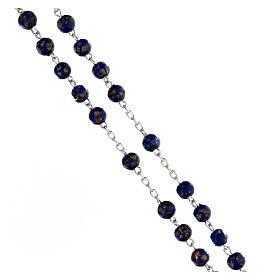 Terço prata 925 contas de vidro 6 mm azul e ouro com crucifixo trilobado s3