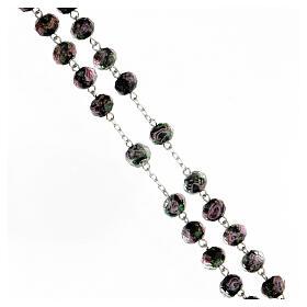 Rosario granos 8x10 mm vidrio negro rosas plata 925 s3