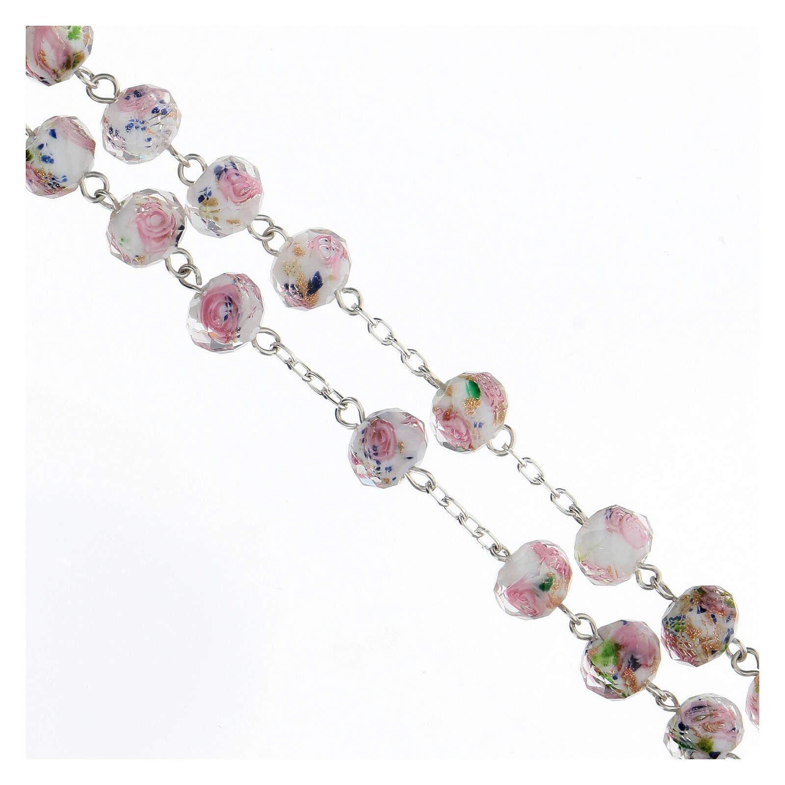 Terço prata 925 contas vidro multifacetado 8x10 mm branco com rosas 4