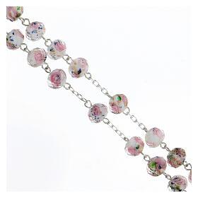 Terço prata 925 contas vidro multifacetado 8x10 mm branco com rosas s3