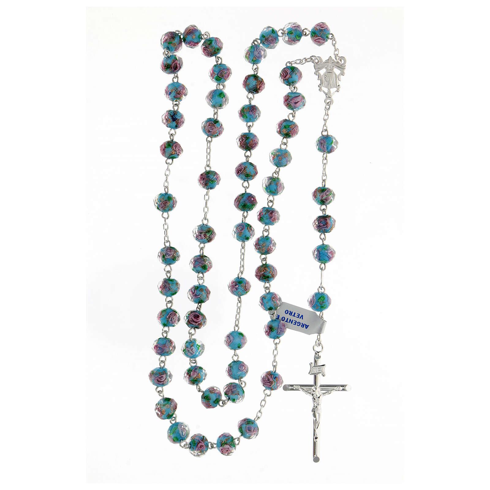 Rosario plata 925 cruz tubular granos vidrio 8x10 mm azules rosas 4