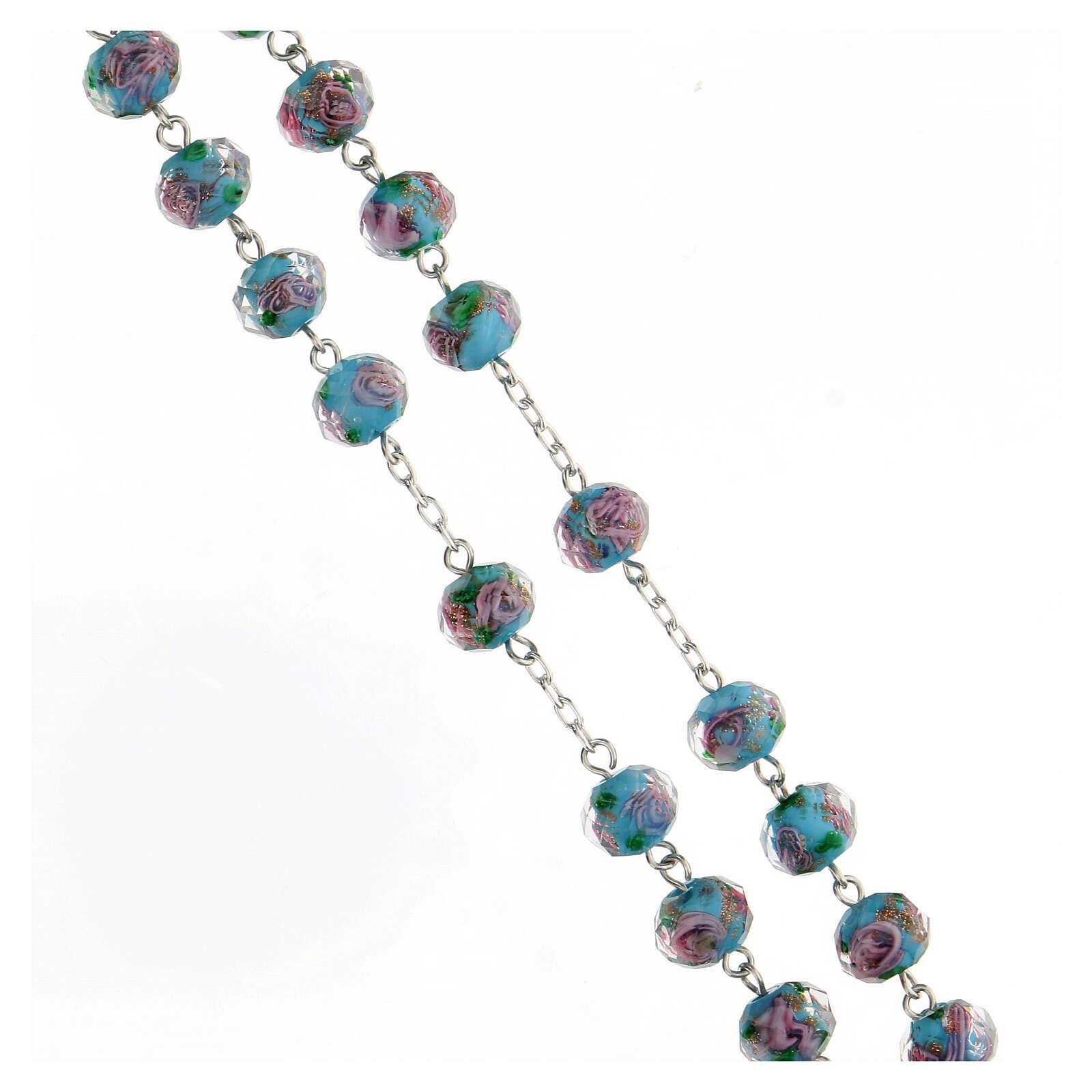 Rosario argento 925 croce tubolare grani vetro 8x10 mm azzurri roselline 4