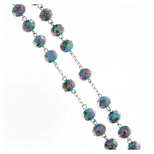 Rosario argento 925 croce tubolare grani vetro 8x10 mm azzurri roselline 3