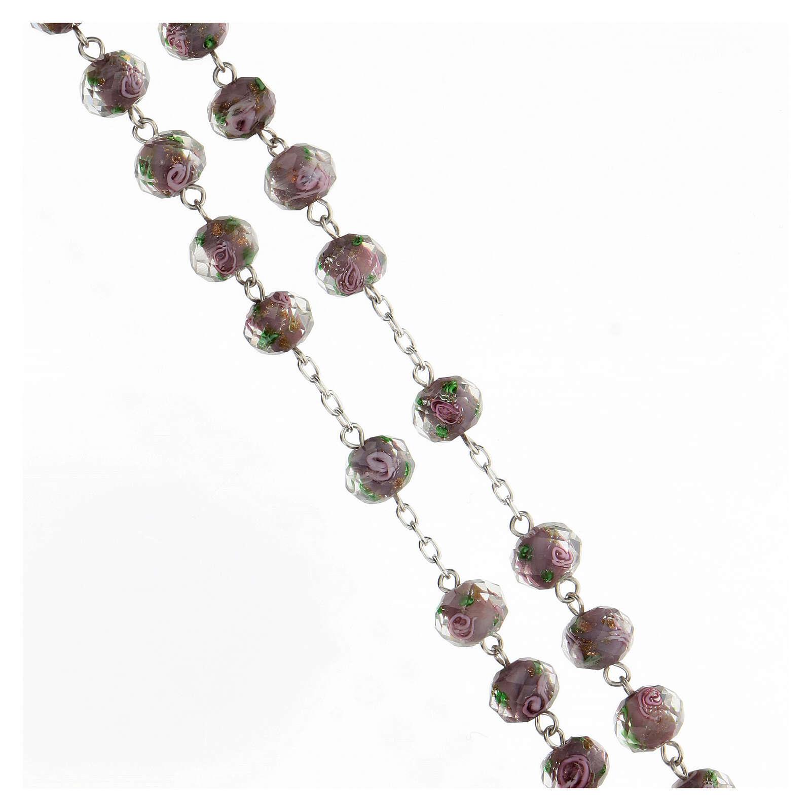 Rosario argento 925 grani vetro sfaccettato viola roselline 8x10 mm 4