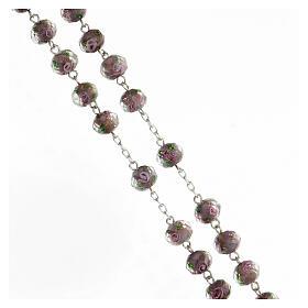 Rosario argento 925 grani vetro sfaccettato viola roselline 8x10 mm s3