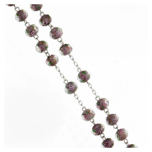 Rosario argento 925 grani vetro sfaccettato viola roselline 8x10 mm 3