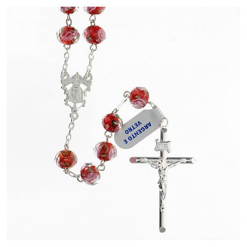 Rosario granos 8x10 mm vidrio rojo cruz plata 925 1