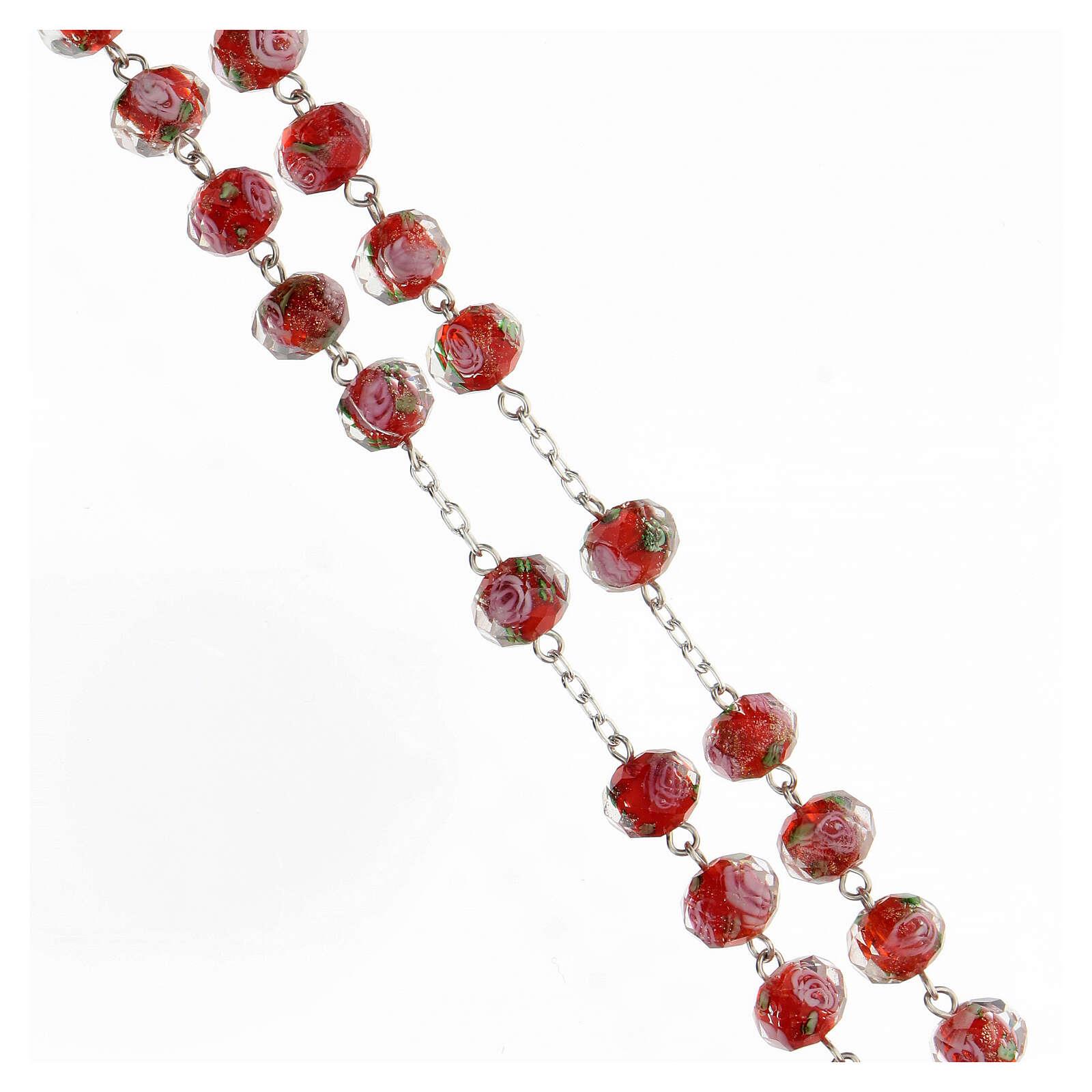 Chapelet grains 8x10 mm verre rouge roses argent 925 4