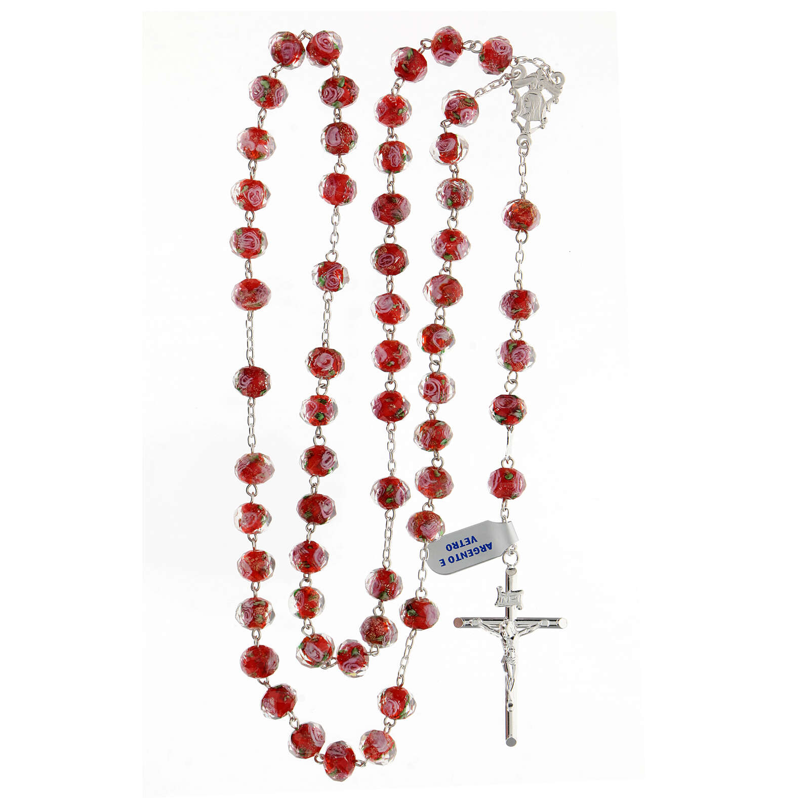 Rosario grani 8x10 mm vetro rosso rose rosa croce argento 925 4