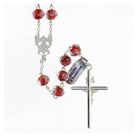 Rosario grani 8x10 mm vetro rosso rose rosa croce argento 925 s2