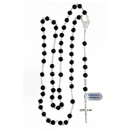 Rosario plata 925 granos cristales 6 mm negros cruz moderna 4