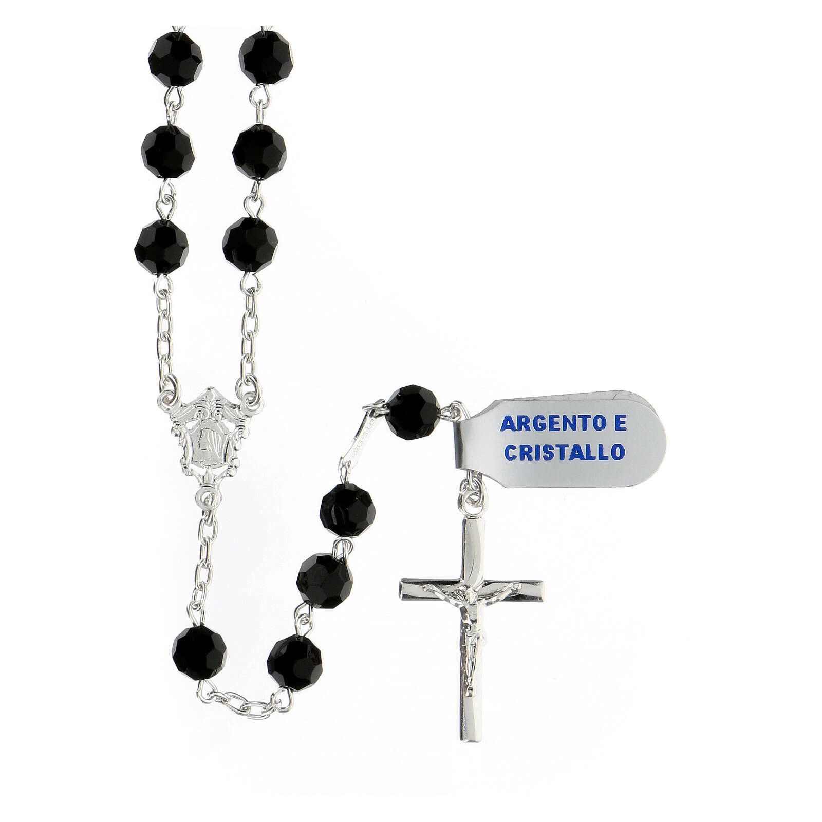 Terço prata 925 contas cristal preto 6 mm e cruz moderna 4