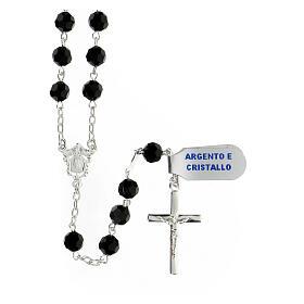 Terço prata 925 contas cristal preto 6 mm e cruz moderna s1