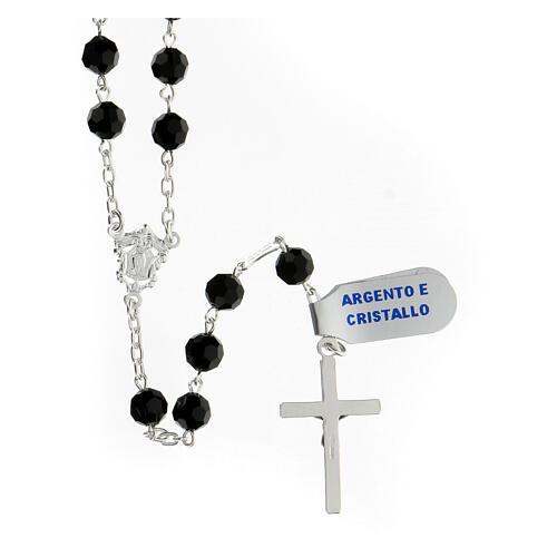 Terço prata 925 contas cristal preto 6 mm e cruz moderna 2