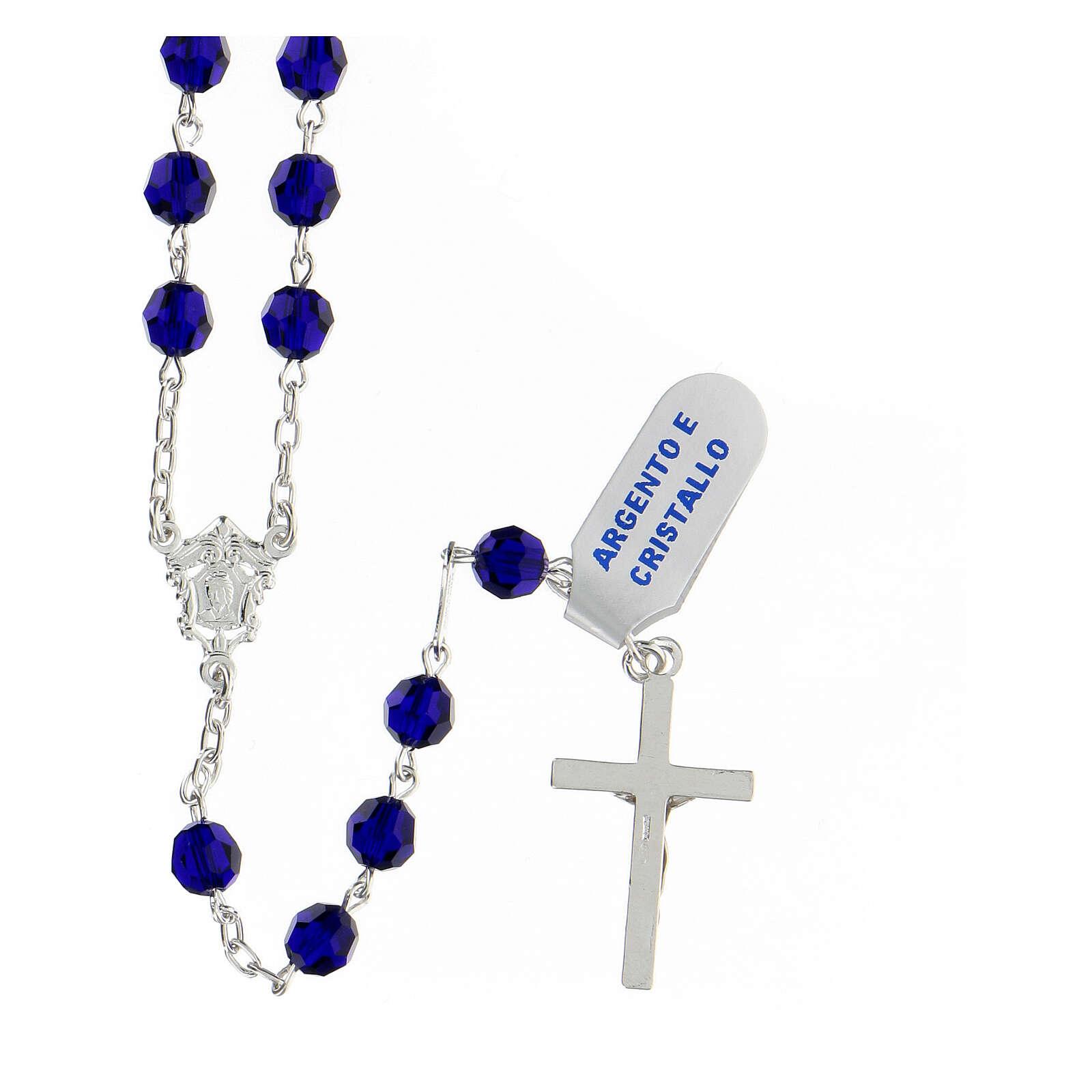 Terço prata 925 contas multifacetadas cristal azul 6 mm e cruz moderna 4