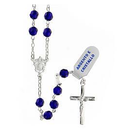 Terço prata 925 contas multifacetadas cristal azul 6 mm e cruz moderna s1