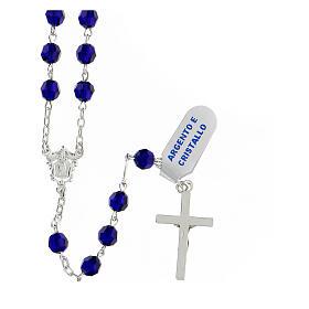 Terço prata 925 contas multifacetadas cristal azul 6 mm e cruz moderna s2