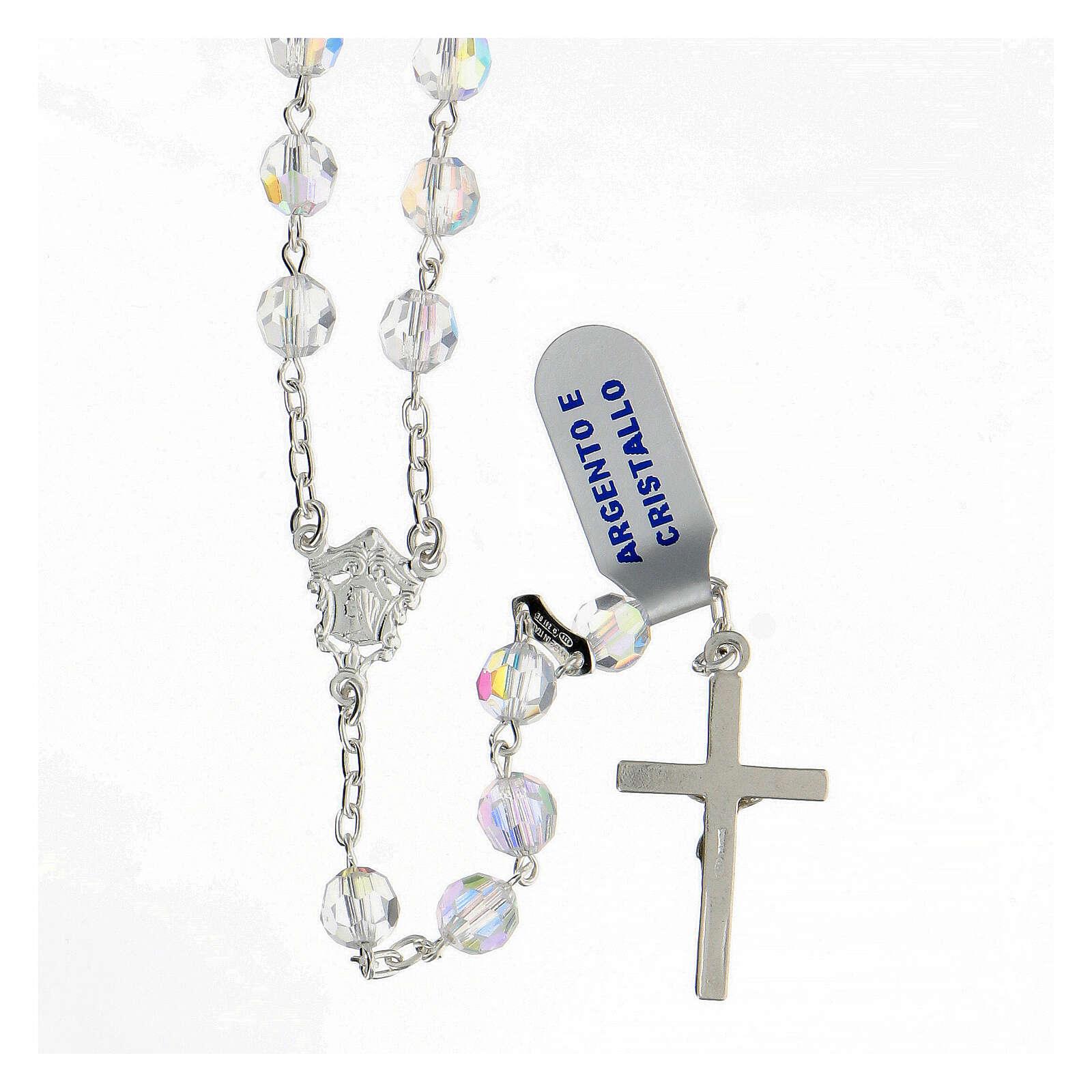 Rosario cristal blanco granos 6 mm plata 925 crucifijo 4