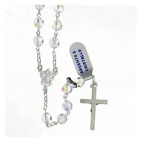 Rosario cristal blanco granos 6 mm plata 925 crucifijo s2