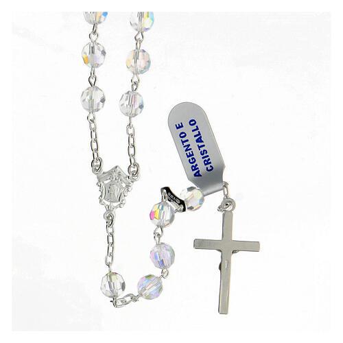 Rosario cristal blanco granos 6 mm plata 925 crucifijo 2