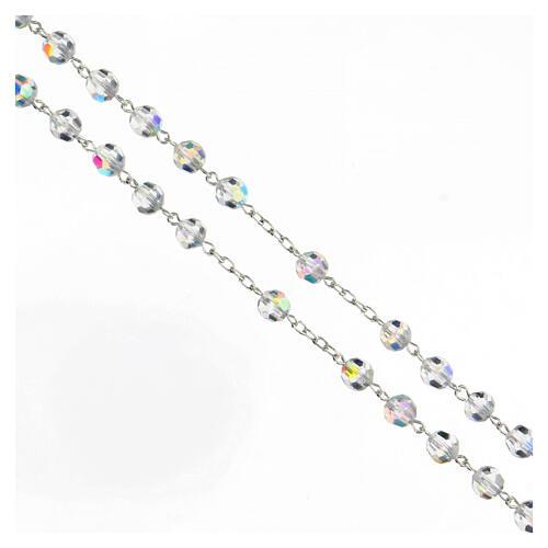 Rosario cristal blanco granos 6 mm plata 925 crucifijo 3