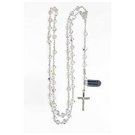 Chapelet cristal blanc grains 6 mm argent 925 crucifix s4