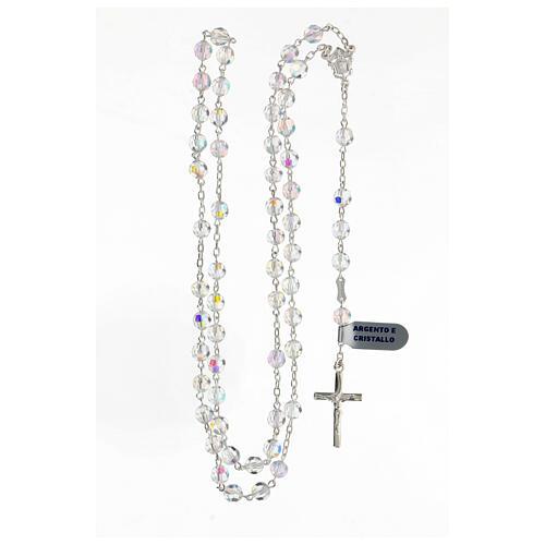 Chapelet cristal blanc grains 6 mm argent 925 crucifix 4