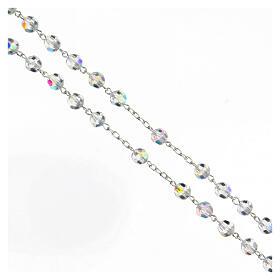 Rosario cristallo bianco grani 6 mm argento 925 crocefisso s3