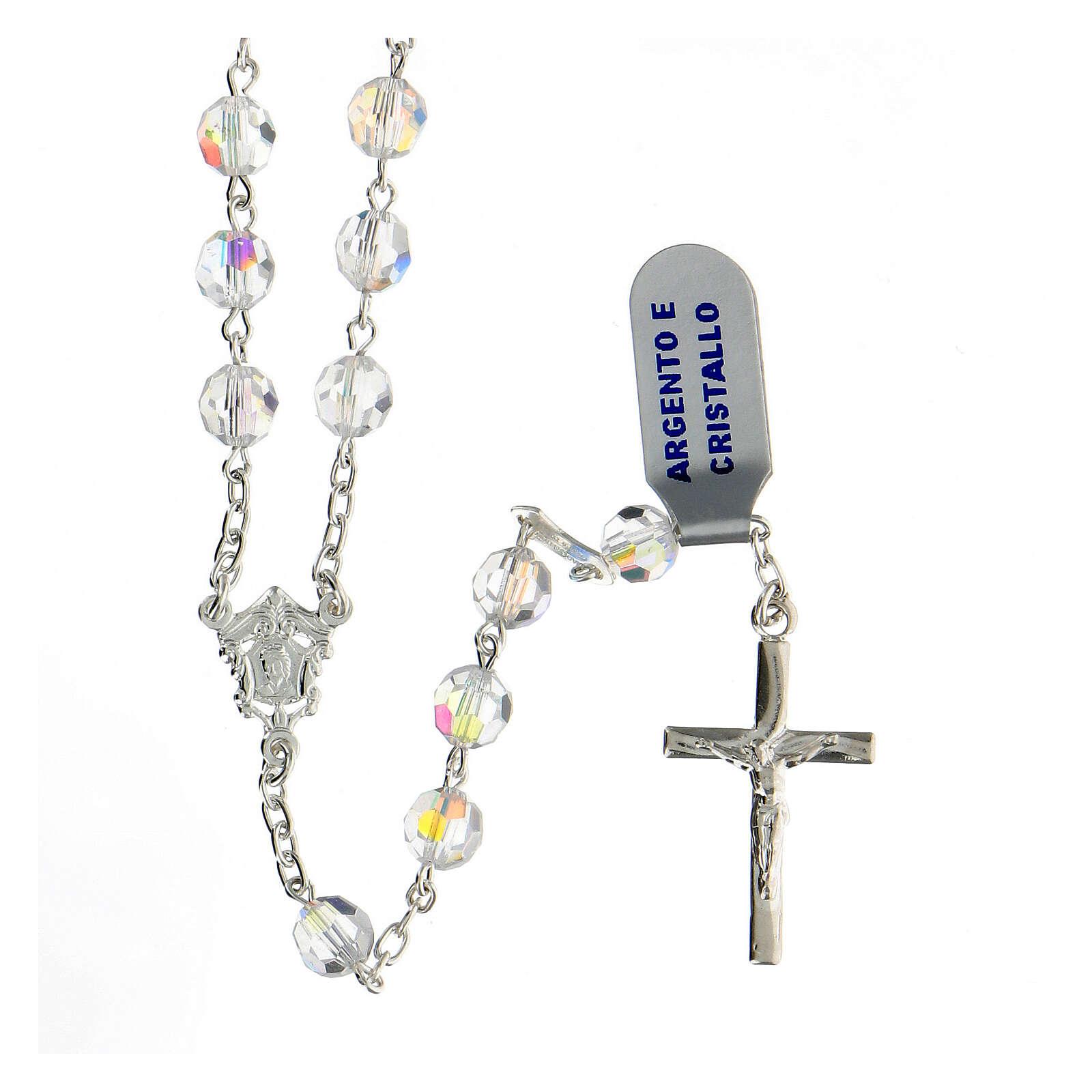 Terço prata 925 contas cristal branco 6 mm com crucifixo moderno 4