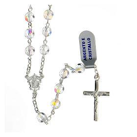 Terço prata 925 contas cristal branco 6 mm com crucifixo moderno s1